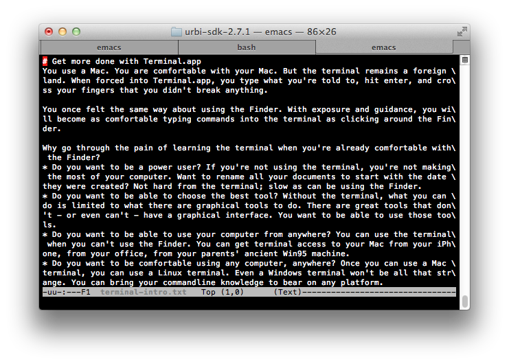 A terminal with a few tabs. The selected tab shows the text of this post in an Emacs buffer.