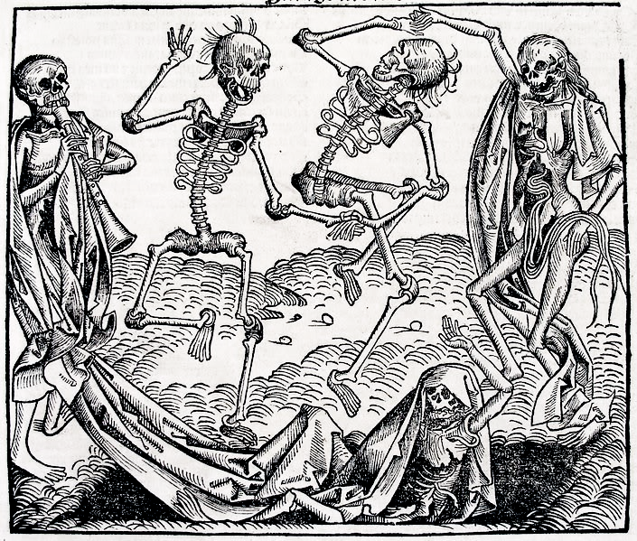 15th century print of skeletons dancing and playing musical instruments.