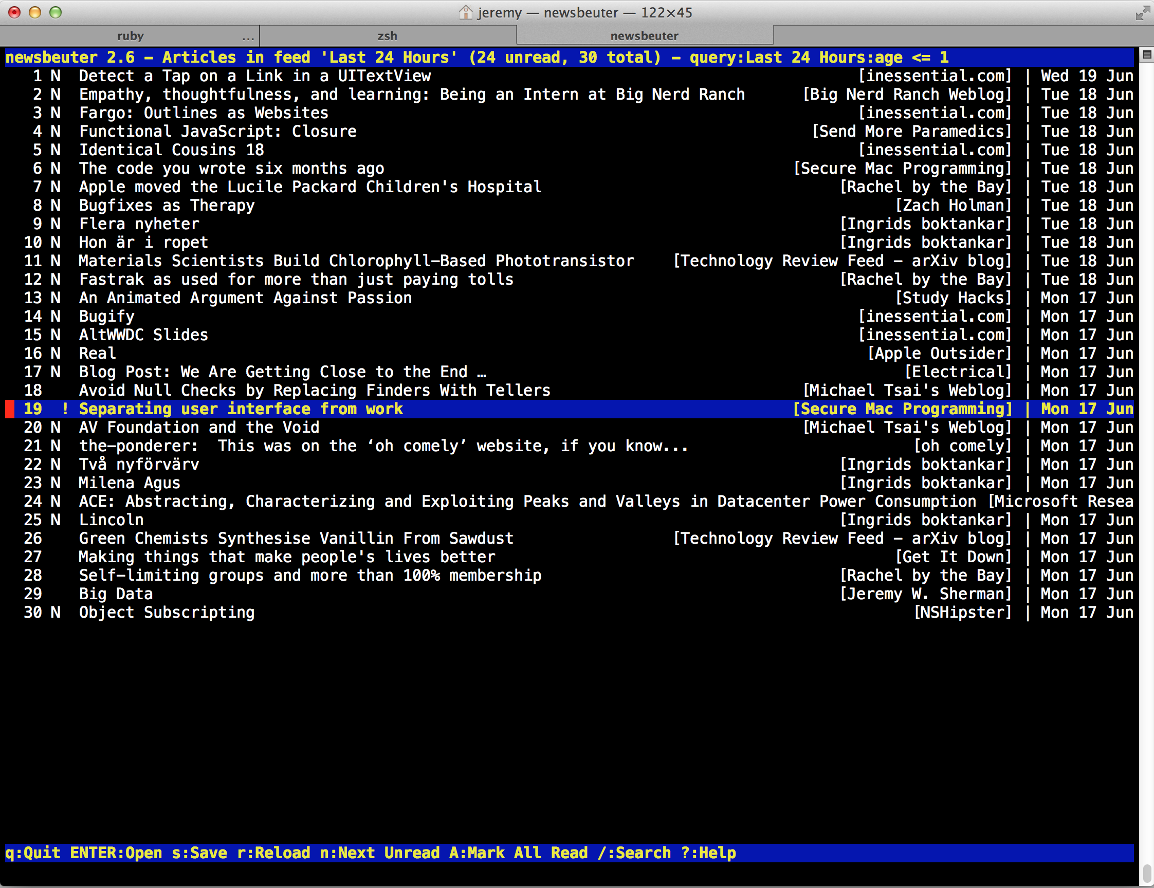 screenshot of Terminal showing Newsbeuter viewing my Last 24 Hours query feed